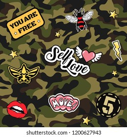 Green army seamless pattern. Repeating camouflage print with cool patches. Hand drawn camo fashion background with pop art and military badges. Vector illustration