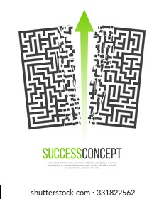 Green Arrow Crashes Through the Walls of a Maze to Freedom. Business Solution / Success Concept. Vector Illustration.