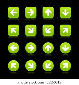 Green arrow sign web 2.0 internet button. Smooth round and square shapes with reflection on black background