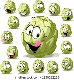 green artichoke cartoon funny character vegetable isolated on white