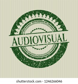Green Audiovisual distressed rubber seal with grunge texture
