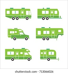 Green Auto RVs Camper Cars Vans Truck Trailers Recreational Vehicles Vector Icons