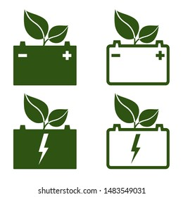 Green automotive battery icons. Battery for electric or hydrogen cars, trucks and other motor vehicles. Vector Illustration