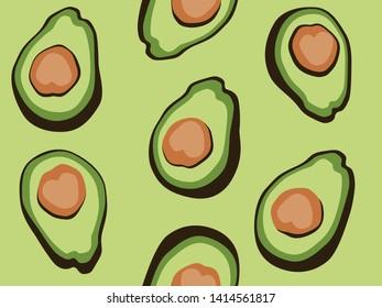 Green avocado half seamless vector pattern