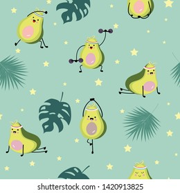 Green avocado seamless pattern with leaf and star.Avocado exercise vector illustration for background,wallpaper,frabic
