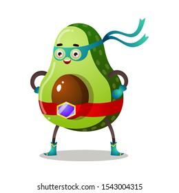 Green avocado in traditional mask of superhero vector illustration