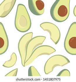 green avocados on a white background. vector seamless pattern created by gem creative art.