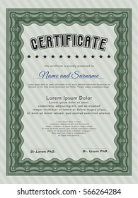 Green Awesome Certificate template. Complex background. Lovely design. Detailed.