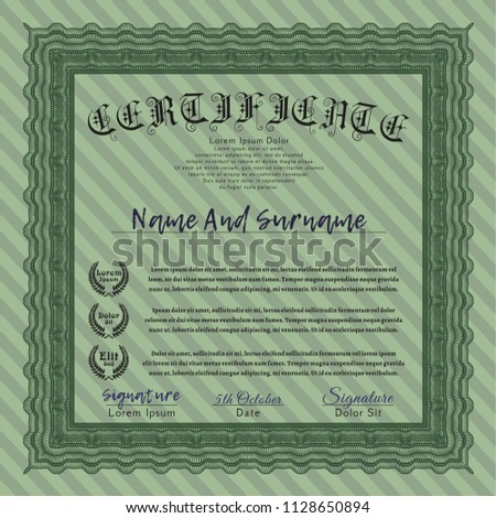 Green Awesome Certificate Template Vector Illustration Stock Vector