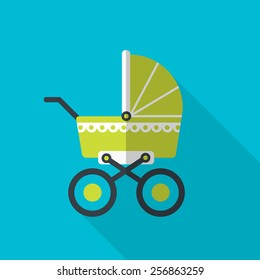Green baby pram.  flat icon with long shadow