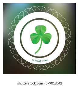 Green background with a banner with text and a clover for patrick's day
