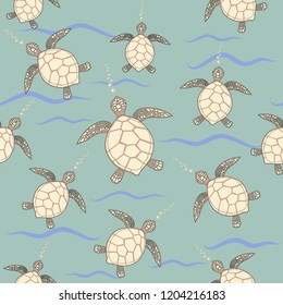 green background with beige and brown sea turtles bubbles seamless vector design