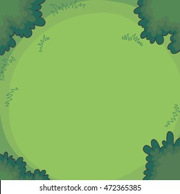 Green background bushes or trees and grass. Top view. Vector Illustration.