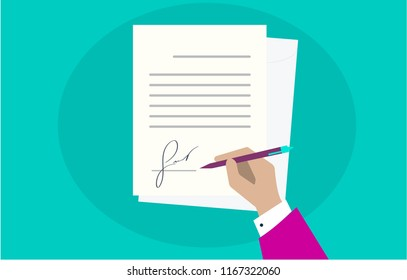 Green background. Business man pink hand signing fictitious fake signature document vector illustration. Person hold contract signed and pen, legal agreement with signature top view