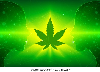 green background. Cannabis marijuana in medical. Concepts of using marihuna for medicinal purposes for, In front of people on Cannabis marijuana in medical.