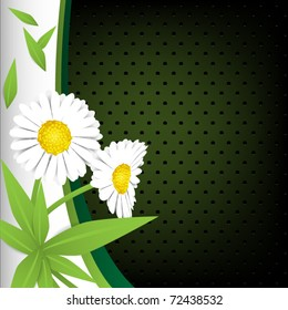 Green background with flowers and grass