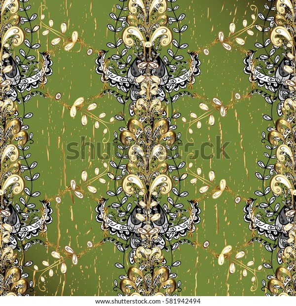 Green background with gold elements. Vector golden pattern. Vector illustration. Oriental style arabesques. Golden textured curls.