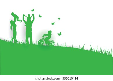 Green background happy family having fun playing in the field.Creative design graphic Environment nature day concept.people lifestyle enjoy in garden park of silhouette.Picnic in holiday.vector.Eps10