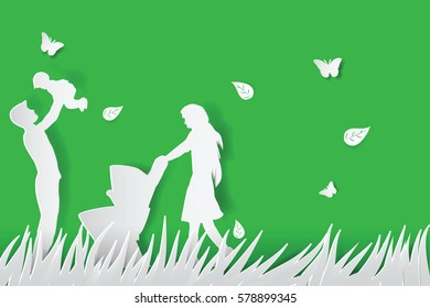 Green background happy family having fun playing in the field.paper cut style