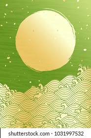 Green background of Japanese traditional pattern