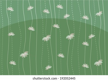 green background with a lotus, vector