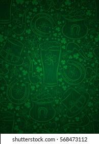 Green  background for Patricks day with beer mug, horseshoe, hat, pipe and shamrocks, vector illustration