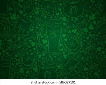 Green  background for Patricks day with ber mug, horseshoe, hat, pipe and shamrocks, vector illustration