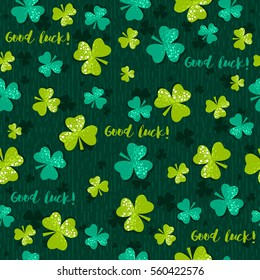 Green background for Patricks day with shamrock, vector illustration. Hand drawn decorative elements.