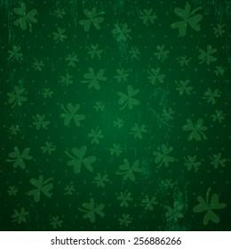 green background for Patricks day with shamrocks, vector illustration