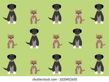 Green background with a pattern of puppies and kittens