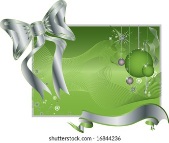 Green background pattern vector illustration with a large silver bowtie and ribbon