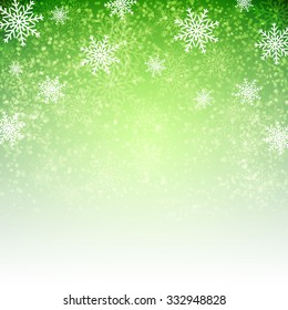 Green background with  snowflakes. Vector illustration for Christmas posters, icons, Christmas greeting cards, Christmas print and web projects.
