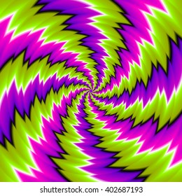 Green background with spirals (spin illusion)