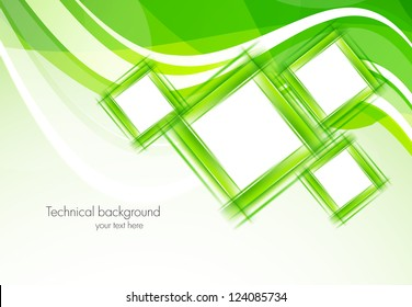 Green background with squares. Abstract illustration