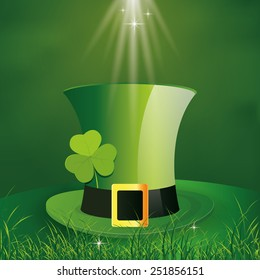 a green background with a traditional hat for patrick's day