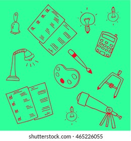 Green backgrounds education school doodles vector illustration