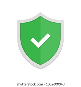 Green badge icon with shield and check mark. Modern flat vector illustration.