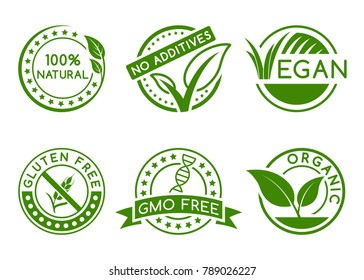 Green badges for labeling products.