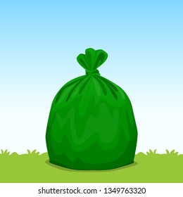 green bag plastic garbage on grass sky background, bin bag, garbage bags for waste, pollution plastic bag waste, 3r ad, waste plastic bags and copy space for banner advertising background