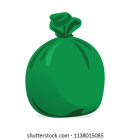 green bag plastic waste and concept the color of green garbage bags is biodegradable compostable waste, illustration (vector)