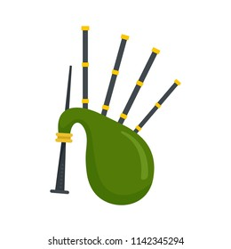 Green bagpipes icon. Flat illustration of green bagpipes vector icon for web isolated on white