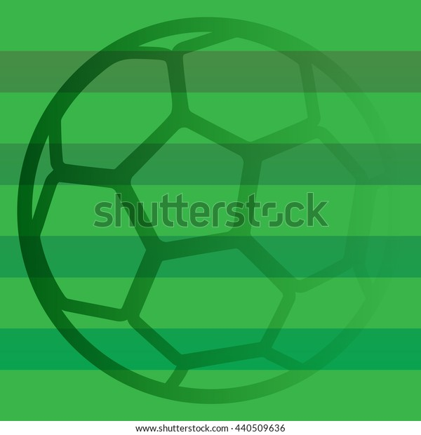 Green ball on green striped background. Euro 2016. Soccer background for poster, card, web. Football Championship. Vector illustration.