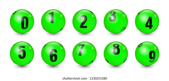 Green Balls Set with Black Text Number 0 to 9