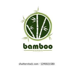 green bamboo branch and leaf vector icon logo design template