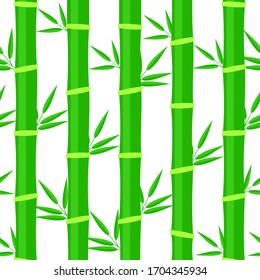 green bamboo branches, seamless pattern on a white background, vector illustration
