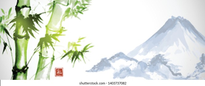 Green bamboo and far blue mountains on white background.Traditional Japanese ink wash painting sumi-e. Hieroglyph - eternity