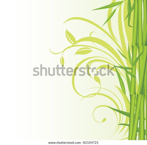 green-bamboo-on-floral-background-600w-8