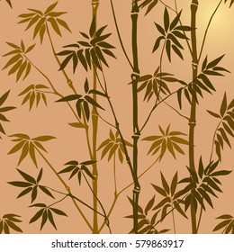 Green bamboo seamless pattern on beige background. Tropical wallpaper, nature textile print.
