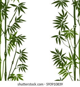 Green bamboo seamless vertical pattern on white background. Tropical wallpaper, nature textile print, template with text place.