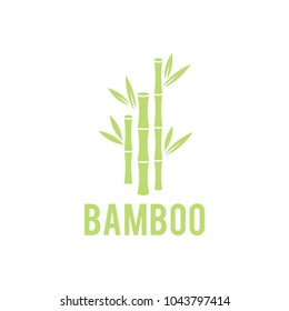 Green bamboo stems. Concept for spa and beauty salon, asian massage, cosmetics package, furniture materials. Bamboo tree icon on white background.